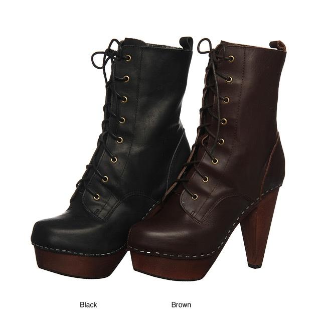 Nyla Womens Shonda Lace Up Platform Ankle Boots