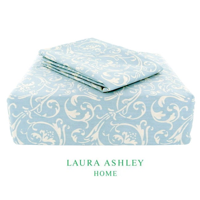 Laura Ashley Ashby 200 Thread Count Blue Full-size Sheet Set