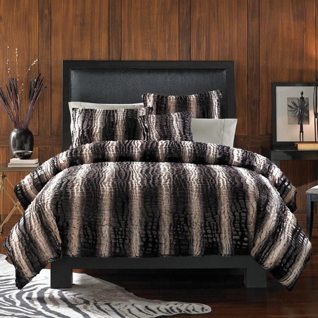 Striped Crocodile Faux Fur 3-piece King Duvet Cover Set