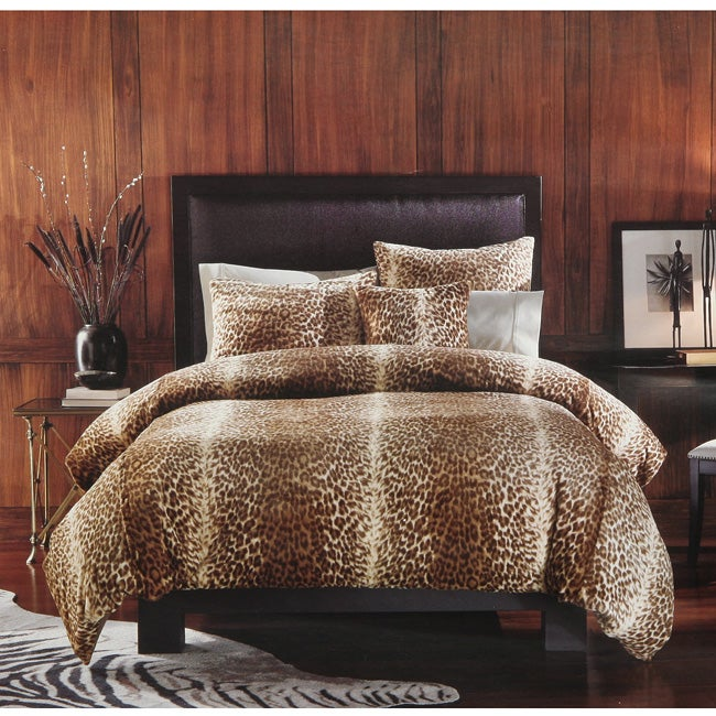 Leopard Print Faux Fur 3-piece Queen-size Duvet Cover Set
