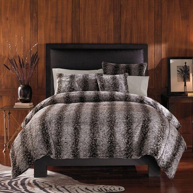 Jaguar Faux Fur 3 Piece King Size Duvet Cover Set Free