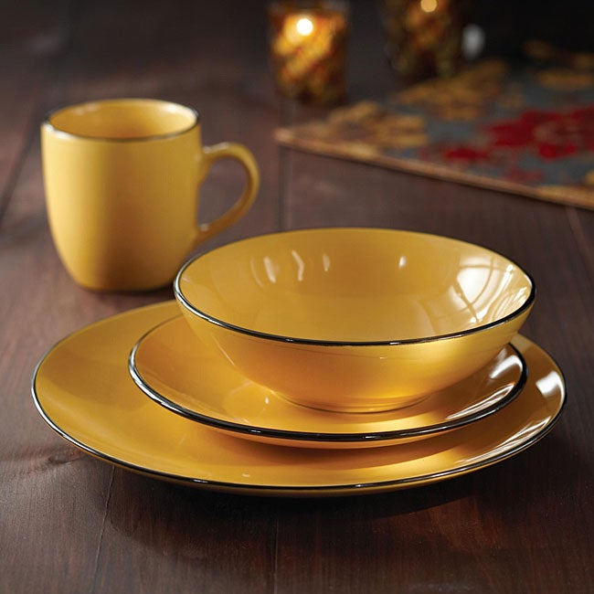 American Atelier 16 Piece Classic Piping Yellow Dinnerware