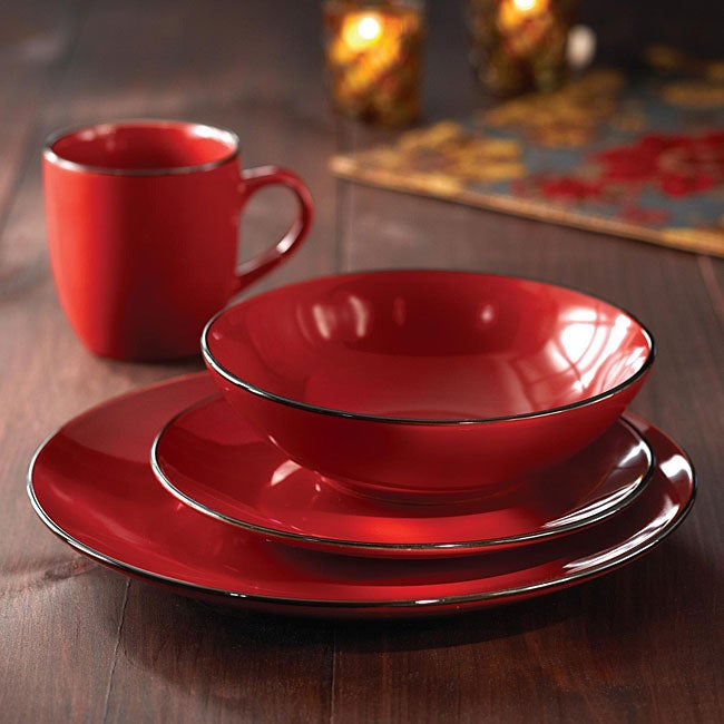 American Atelier 16 Piece Classic Piping Red Dinnerware