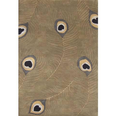 Alliyah Handmade Beige Wool Rug - Sage/Brown - 8' x 10'