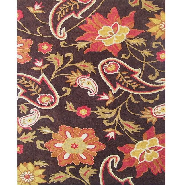 Fieldcrest Luxury Jacobean Floral Wool Rug Uniquely