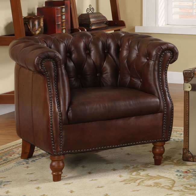 testbrand victoria top grain leather club chair - Leather Club Chairs