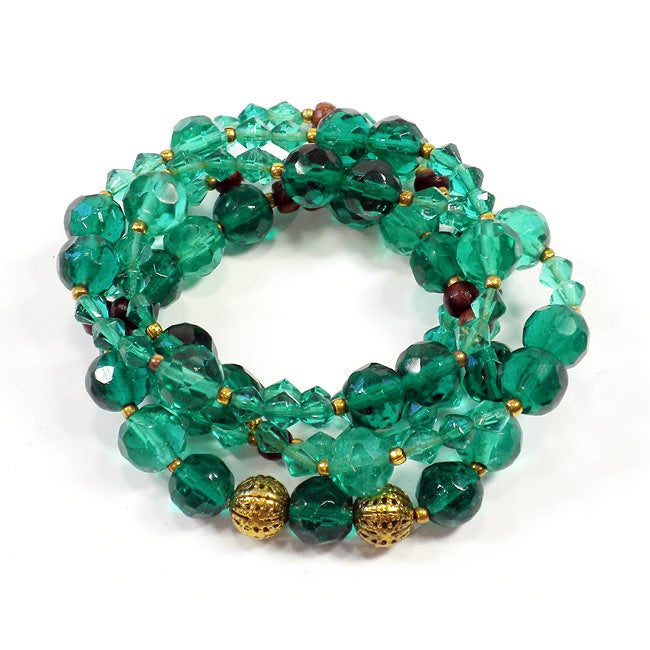 Glass and Wood Teal Beaded Bracelet Set (India)
