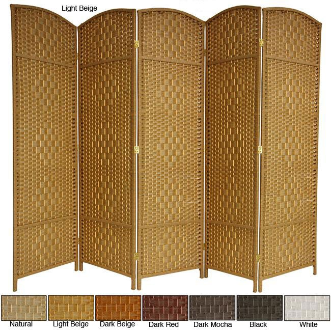 Wood and Fiber 5-panel 6-foot Diamond Weave Room Divider (China)
