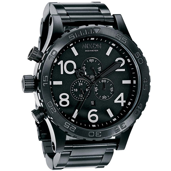 Nixon 51-30 Men's All Black Stainless Steel Watch, Size O...