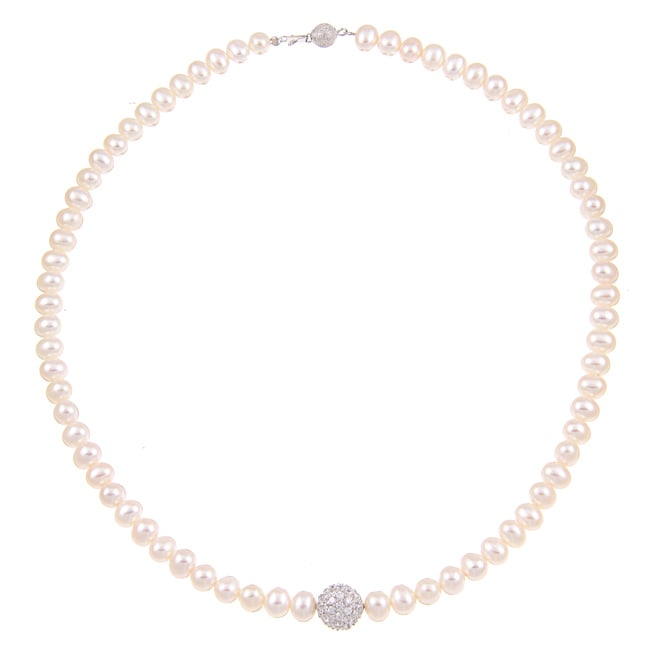 Kabella Sterling Silver White FW Pearl and Cubic Zirconia Necklace (6-7 mm)