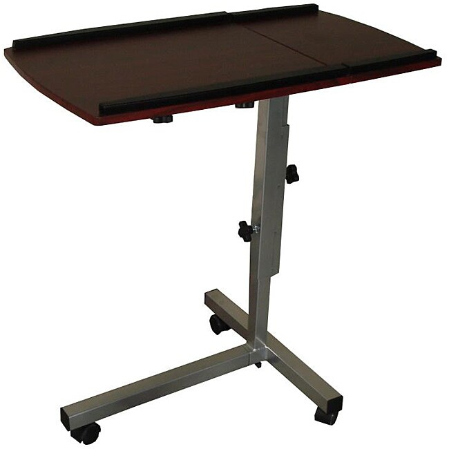 Adjustable Ergonomic Cappuccino Finish Laptop Desk Table Stand - Free