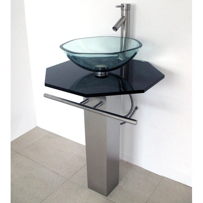 Brushed Stainless Steel Pedestal and Black Glass Countertop and Faucet Vanity