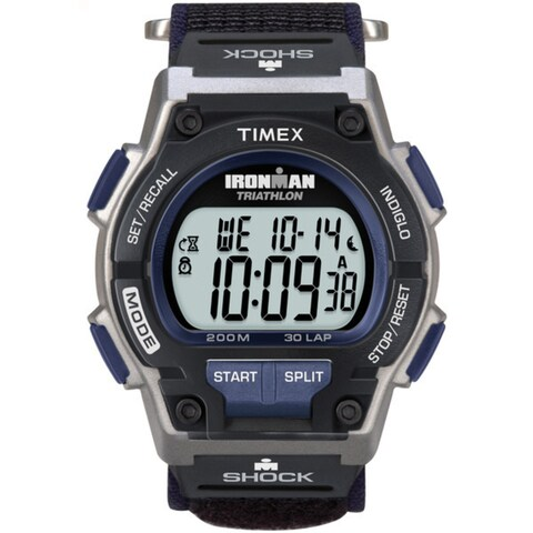 Timex Men's T5K198 Ironman Classic Shock 30-Lap Fast Wrap Strap Watch - black