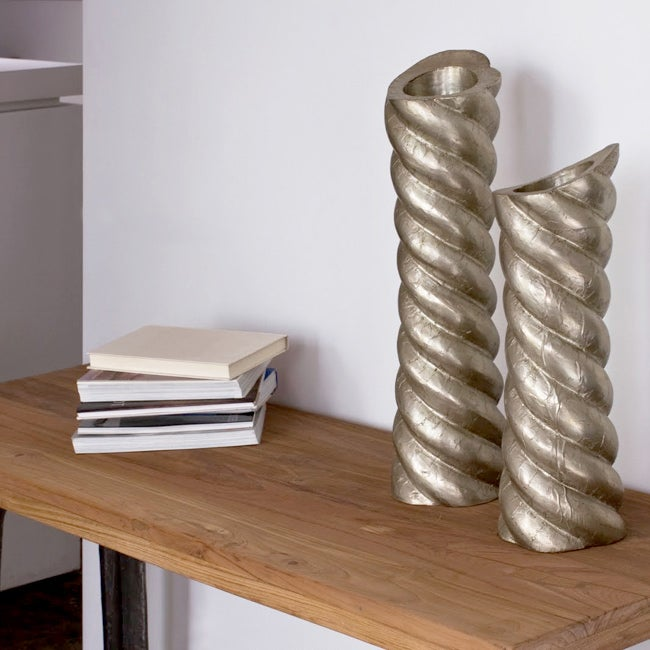 Set of 2 Wooden White Metal-coated Twist Candle Stands (India)