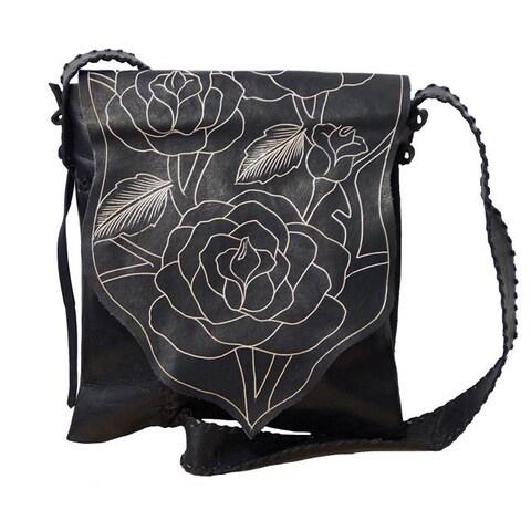 Handmade Genuine Leather Rose Messenger Bag (Indonesia)