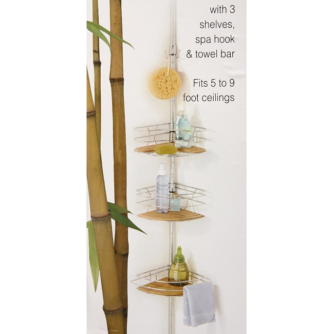bamboo tension pole bath caddy free shipping today 13000975. Black Bedroom Furniture Sets. Home Design Ideas