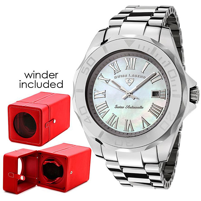 Shop Swiss Legend Mens White Mother Of Pearl Dial Watch With Winder