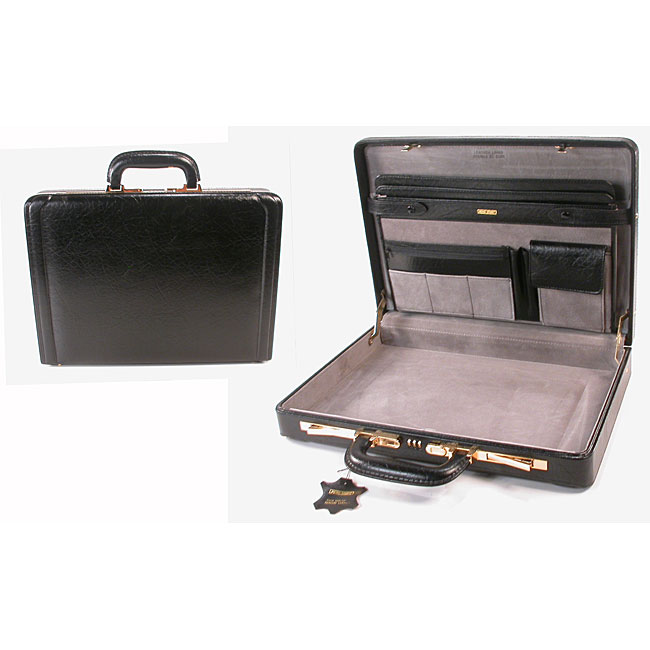 Black Leather Bar-lock Attache Briefcase