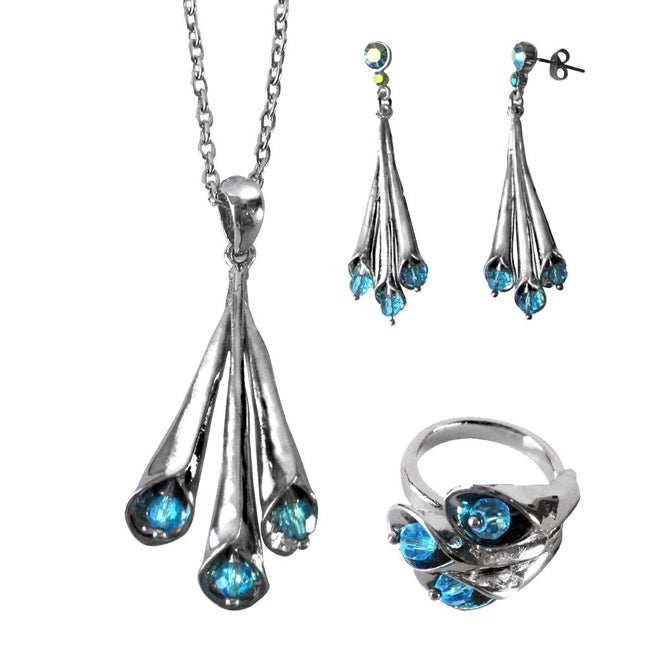 Copper Blue Crystal Bead Lily Necklace, Earring and Ring Set