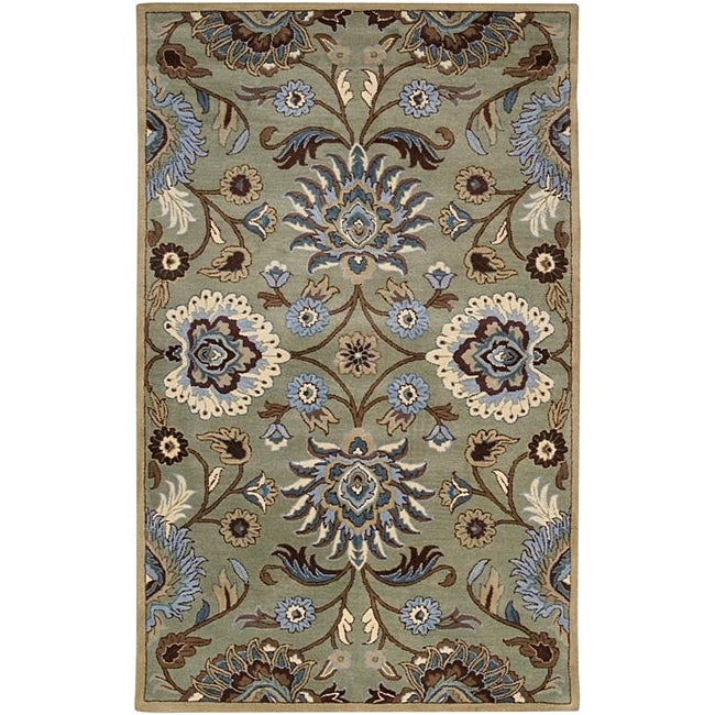 Shop Hand Tufted Floral Medallion Green Wool Rug 6 X 9