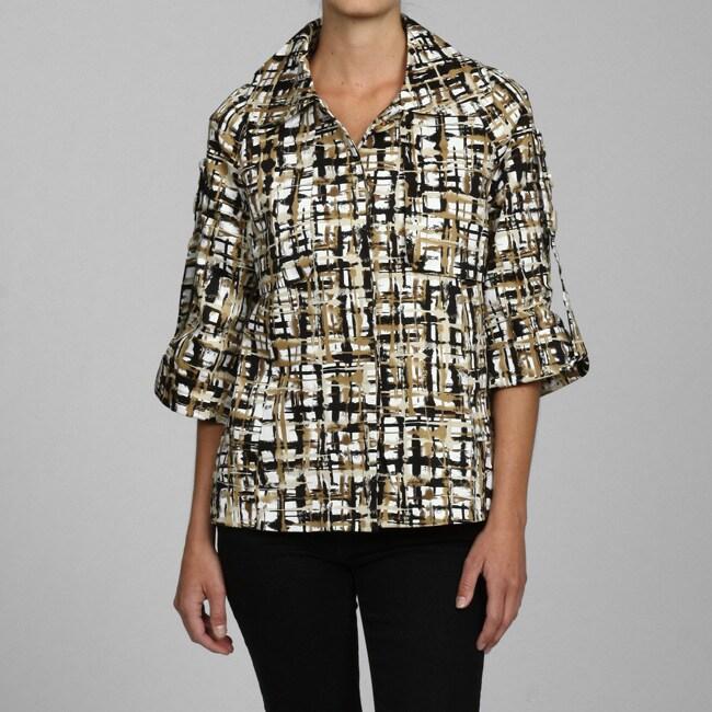 Appraisal Women's 3/4-length Sleeve Printed Trench Coat