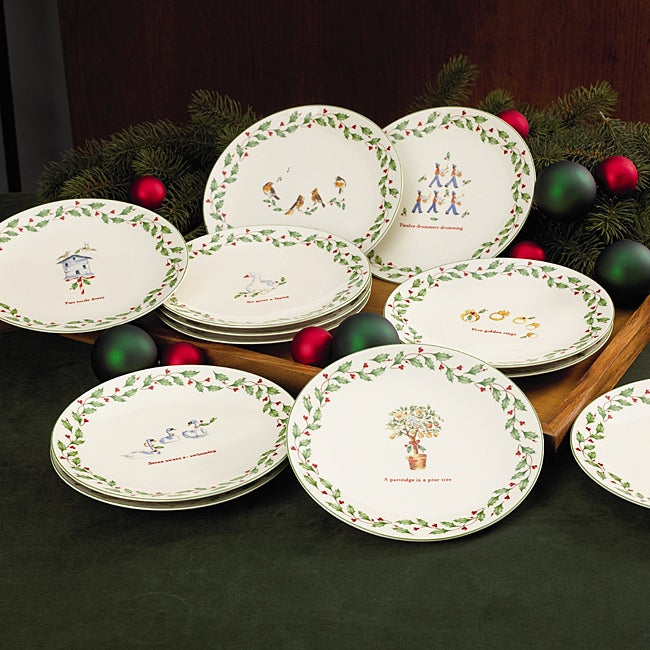 Shop Lenox Holiday 12 Days Of Christmas Dessert Plates Overstock
