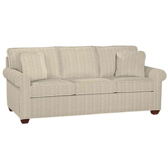 Ellen Tan and Charcoal Herringbone Fabric Sofa