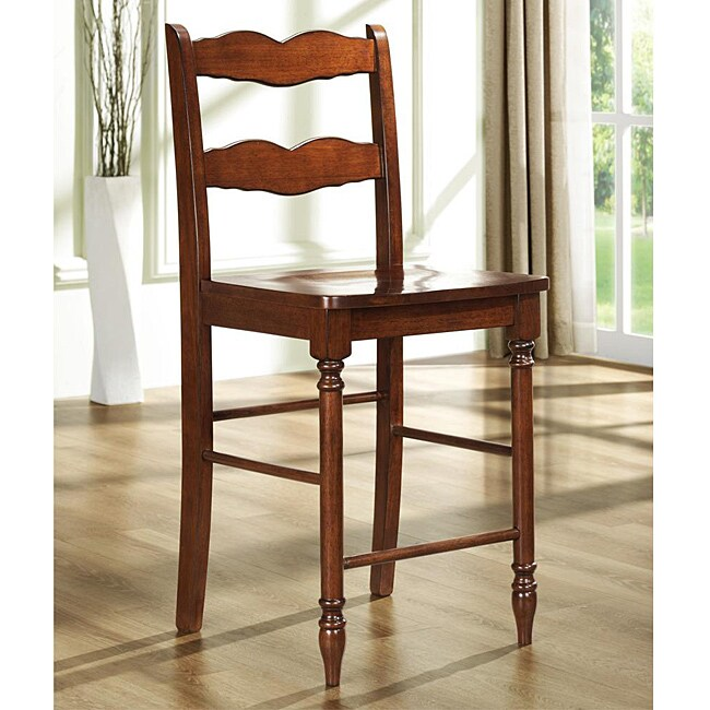 Cyprus Mahogany Ladder Back 24 Inches Counter Height Stool