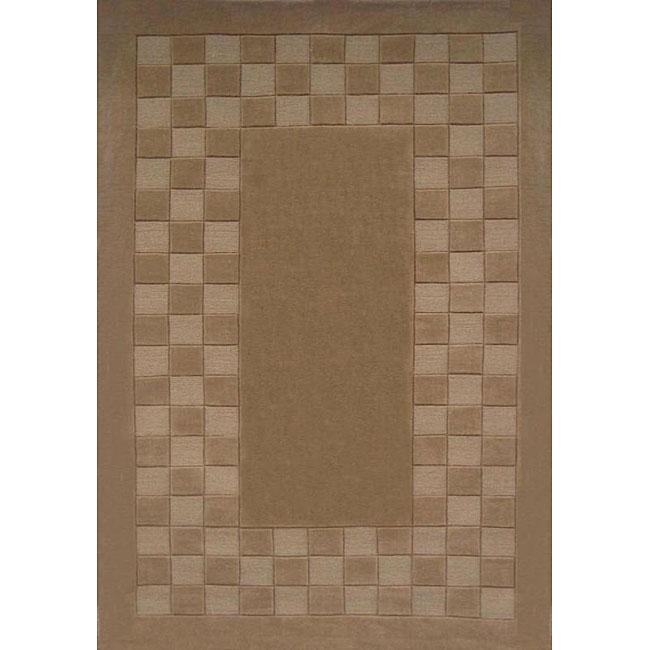 Hand-tufted Trendy Tan Wool Rug (8' x 11')