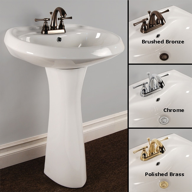 Fontaine Ceramic Oval Pedestal Sink and Faucet Combo - Free Shipping ...