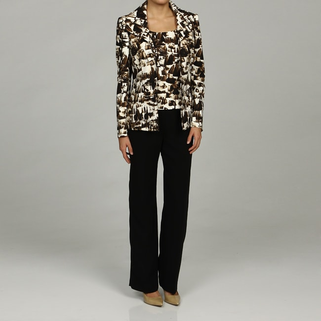 Kasper Women's 3-piece Printed Flyaway Jacket Pant Suit