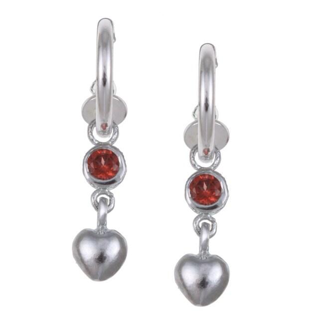 Sterling Essentials Sterling Silver Heart and Garnet Heart Earrings