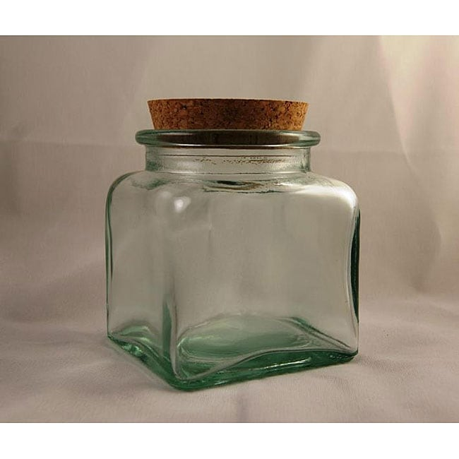 Recycled Clear Green Glass Square Jars with Cork Lid (Pack of 4)