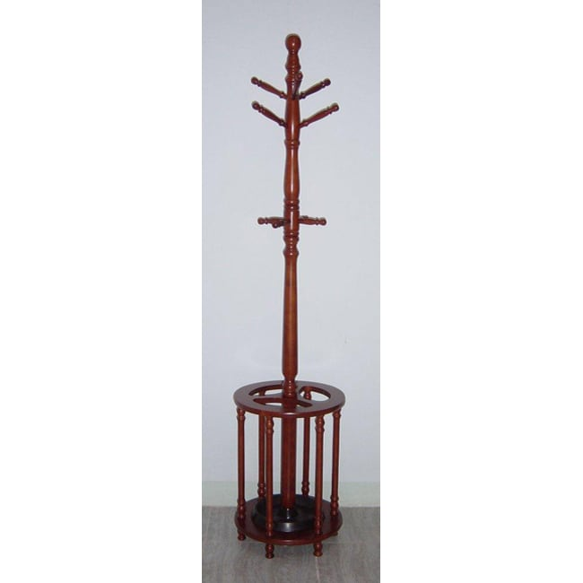 Oak Wood Coat Rack Hanger/ Umbrella Stand