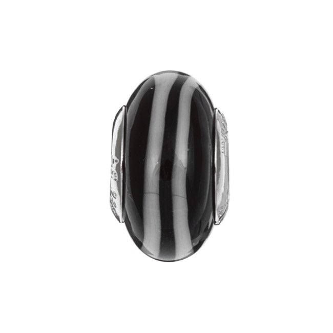 Sterling Essentials Sterling Silver Zebra Murano Glass Bead