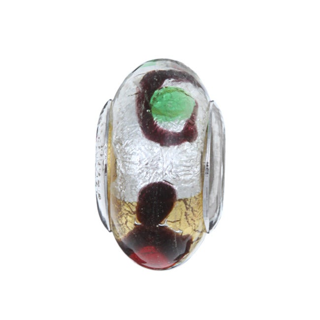 Sterling Essentials Sterling Silver Carnival Murano Glass Bead