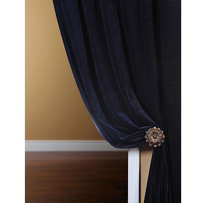 Exclusive Fabrics Signature Royal Blue Velvet 108-inch Curtain Panel - Thumbnail 0