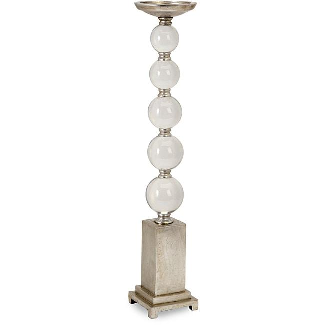 Tall Antique Glass Orb Candlestick