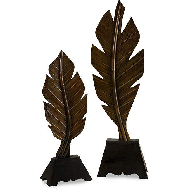 Set of 2 Poplar Wood Regent Aloha Palm Leaf Table Accents
