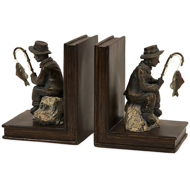 Set of 2 Argento Gone Fishing Bookends