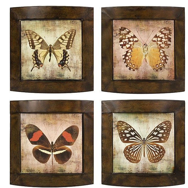 Set of 4 Argento Colorful Butterfly Wall Decor
