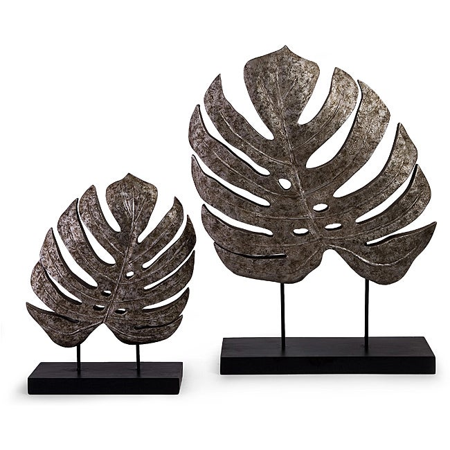 Set of 2 Argento Antique Silvertone Accent Leaves