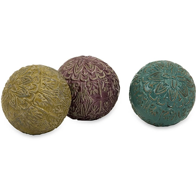 Set of 3 Red Clay Argento Moroccan Decorative Balls