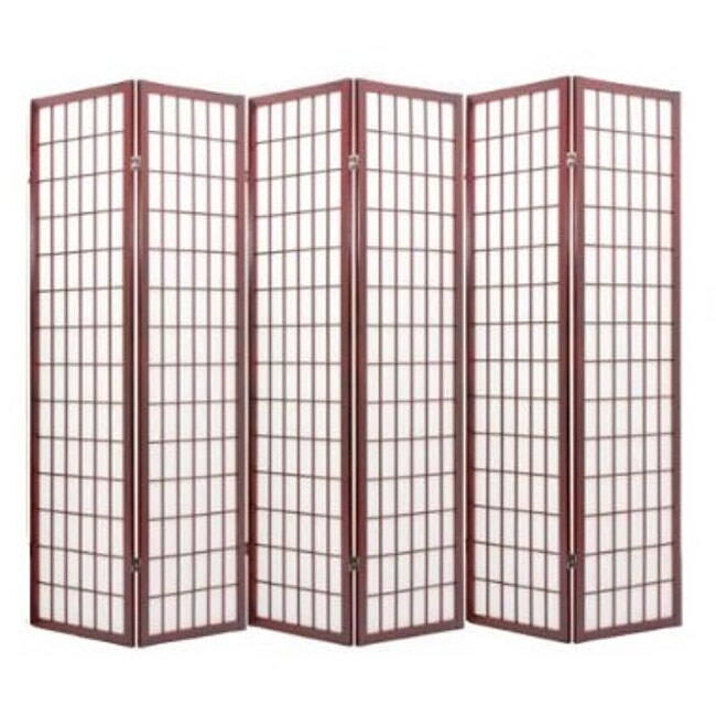 Oriental Shoji Cherry 6-panel Room Divider Screen