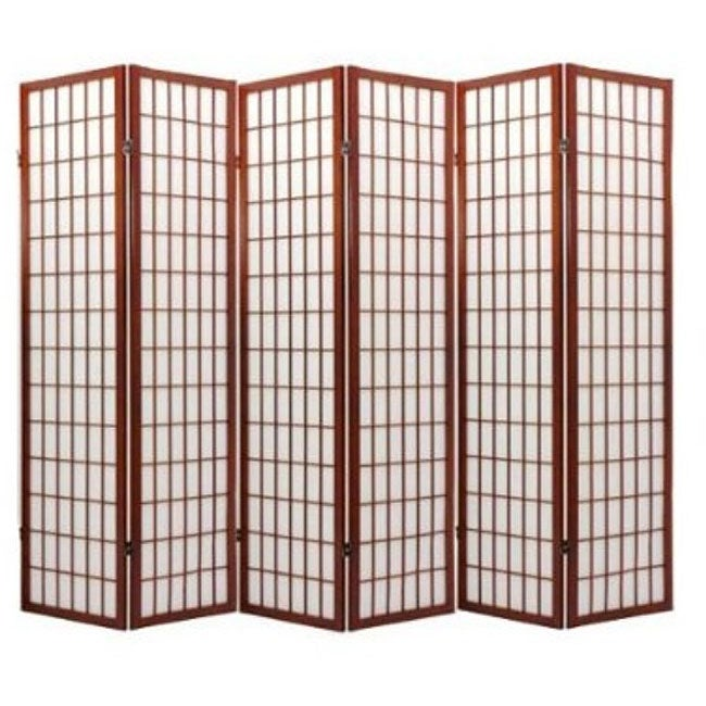 Oriental Shoji Cappuccino 6-panel Room Divider Screen - Thumbnail 0