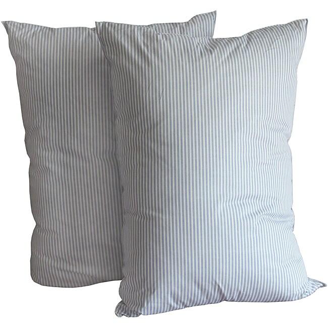 Sleepline King-size Deluxe Maxx Blue/ White Stripe Feather Pillows (Set of 2)