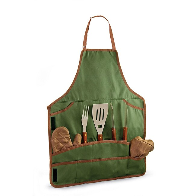 Picnic Time Barbecue Pine Apron and Tool Set