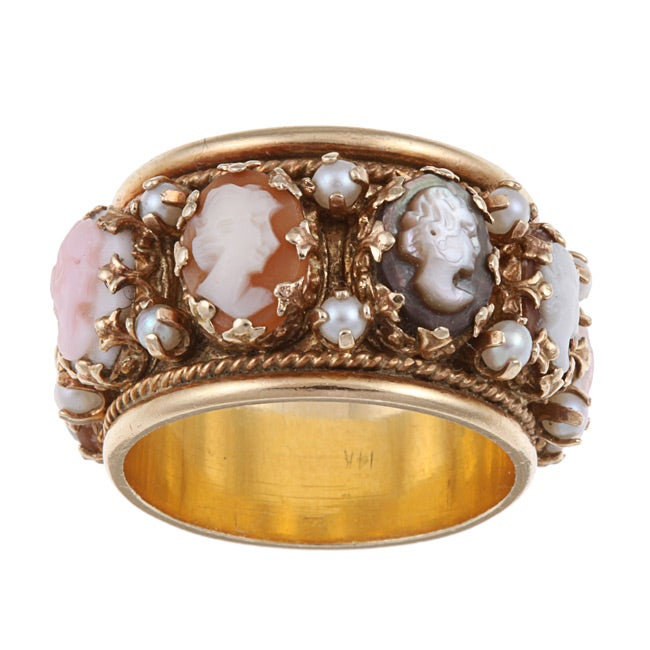 14k Yellow Gold Cameo Eternity Estate Band