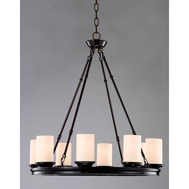 Indoor 8-light Mahogany Bronze Wood Base Chandelier