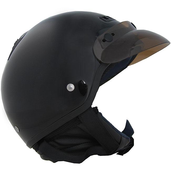 DOT 40 Black Half-shell Motorcycle Helmet